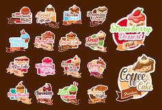 Vector stickers of pastry desserts and cakes. Desserts and pastry sweets stickers for patisserie or cafeteria menu design. Vector isolated set of chocolate royalty free illustration