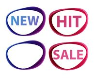 Vector stickers  sale, new, hit. Signs Royalty Free Stock Image