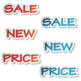 vector Stickers - sale, new, price Royalty Free Stock Photography