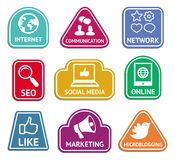 Vector stickers with social media  icons Royalty Free Stock Image