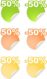 Vector stickers with text  percent Stock Image