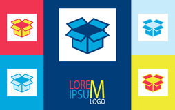Vector stickers with the unpacked box. logo Royalty Free Stock Photo