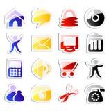 Vector stickers van Webpictogrammen Stock Foto's