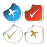 Vector stickers - vinkjes Stock Afbeeldingen