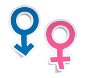 Vector stickers wtih mars and venus symbols Royalty Free Stock Images