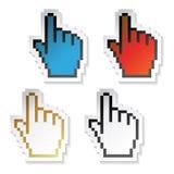 Vector stickerscurseurs van hand Stock Fotografie