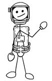 Vector Stickman Cartoon of Astronaut in the Spacesuit. Cartoon vector stickman astronaut in the spacesuit Royalty Free Stock Image