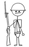 Vector Stickman Cartoon of British WW1 WWI Soldier. Cartoon vector stickman british world war one soldier with riffle and helmet Stock Images
