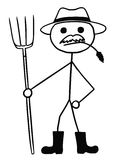 Vector Stickman Cartoon of Farmer with Pitchfork and Hat. Cartoon vector stickman farmer with fork and hat Stock Photos