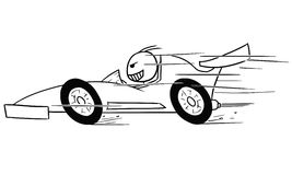 Vector Stickman Cartoon of Formula Driver. Cartoon  stickman formula one driver, driving fast Royalty Free Stock Photography
