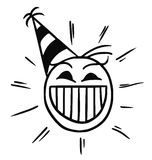 Vector Stickman Cartoon of Happy Smiling Head with Party Hat. Cartoon vector stickman happy head with party hat cap Royalty Free Stock Images
