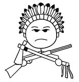 Vector Stickman Cartoon of Indian Tribal Chief. Cartoon vector stickman of native Indian tribal chieftain with rifle and tomahawk Stock Photography