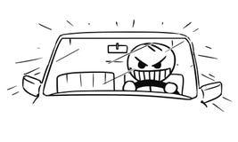 Vector Stickman Cartoon of Mad Car Driver. Cartoon vector stickman of mad crazy raging man driving a car fast Stock Photography