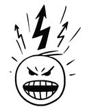 Vector Stickman Cartoon of man in Burst of Anger. Cartoon vector stickman of head in burst of anger , blow-up, with lightning marks above the head Stock Photography