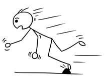 Vector Stickman Cartoon of Man Falling Stumble Trip Over Stone. Cartoon vector stickman man falling stumble trip over stone Royalty Free Stock Photos