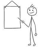 Vector Stickman Cartoon of Men Pointing at Empty Sign. Cartoon vector stickman men is pointing at empty wall sign Royalty Free Stock Image