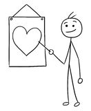 Vector Stickman Cartoon of Men Pointing at Sign with Heart Symbo. Cartoon vector stick man men is holding a pointer and pointing at heart symbol on the wall sign Royalty Free Stock Photo