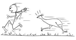 Vector Stickman Cartoon of Men Running Away Followed by Large Bi. Cartoon vector stickman man is running away fast hunted by angry ostrich bird Stock Image