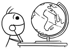 Vector Stickman Cartoon of Men Watching the Globe and Dreaming a. Cartoon vector stick man men daydreaming about travels around the Earth watching the globe Stock Photo