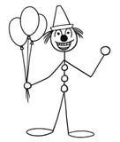 Vector Stickman Cartoon of Party Circus Clown Buffoon. Cartoon vector stickman smiling party or circus clown buffoon with air balloons and cap Stock Images