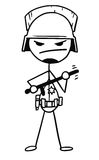Vector Stickman Cartoon of Policeman with Heavy Helmet and Night. Cartoon vector stickman policeman in threatening pose with heavy helmet and nightstick baton in Royalty Free Stock Images