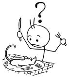 Vector Stickman Cartoon or Rat Served as Meal to Surprised Touri. Cartoon vector stickman surprised male tourist to whom was served rat as food, dish, meal Stock Photo