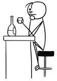 Vector Stickman Cartoon of Sad Man in Depression Drinking Alone. Cartoon vector stick man sad men in depression is drinking sitting in the bar alone with half Stock Photos