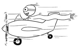 Vector Stickman Cartoon of Smiling Man Flying Small Aircraft. Cartoon vector stickman man flying in small propelled airplane smiling Stock Image