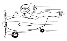 Vector Stickman Cartoon of Smiling Man Flying Small Aircraft. Cartoon vector stickman man flying in small propelled airplane showing thumb up and smiling Stock Photography