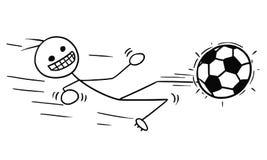 Vector Stickman Cartoon of Soccer Football Player in Slide Kicking Royalty Free Stock Photo