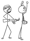 Vector Stickman Cartoon of Tourist with hands up Kidnapped or At. Cartoon vector stickman tourist with camera is kidnapped or attacked by AK gunmen and holding Royalty Free Stock Photo