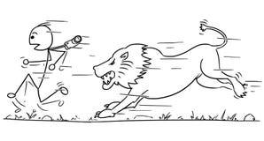 Vector Stickman Cartoon of Tourist Running Away from Lion. Cartoon vector stick man male tourist is running away from male lion pursuing him Royalty Free Stock Photo