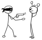 Vector Stickman Cartoon of Two Man During Armed Robbery, Attack, Stock Image