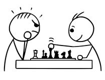 Vector Stickman Cartoon of Two Man Playing a Game of Chess. Cartoon vector stickman two man playing a game of chess; one winning game and smiling, other loosing Royalty Free Stock Images