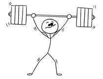Vector Stickman Cartoon of Weightlifter with Barbell. Cartoon vector stickman shaking weightlifter with heavy barbell above his head Royalty Free Stock Photo
