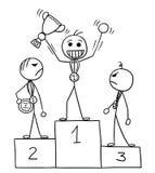 Vector Stickman Cartoon of Winner Celebrating on the Winners Pod. Cartoon vector stickman three males standing on the winners` podium rostrum, winner is enjoying Royalty Free Stock Photos