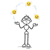 Vector stickman juggling, balls, sad, happy faces Royalty Free Stock Photo