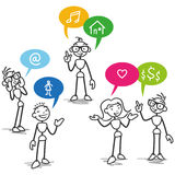 Vector stickman stick figure conversation communication. Vector stick man: Group of stick figures talking with colorful speech bubbles with icons Royalty Free Stock Photography