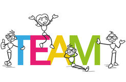 Vector stickman team colleagues Royalty Free Stock Photography