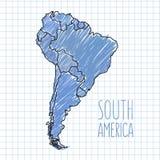 Vector Stift Hand gezeichnete Südamerika-Karte auf Papier Stockfoto