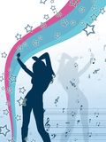 Vector stile girl with stars and music notes. Curvy , like , spesial uniq  silhouette  of a girl dancing , greeting card design Royalty Free Stock Photo