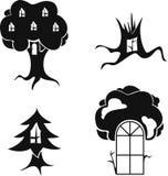 Vector stilisiertes Bild von Bäumen mit Fenstern und Türen Stockfotos