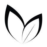 Vector stilisiertes Schattenbild des Frühlingsbaumblattes, das auf Weiß lokalisiert wird Stockfotografie