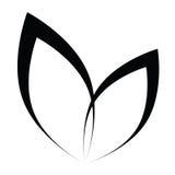 Vector stilisiertes Schattenbild des Frühlingsbaumblattes, das auf Weiß lokalisiert wird Stockbild