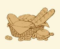 Vector still life. Sketch basket of fresh pastries Stock Photos