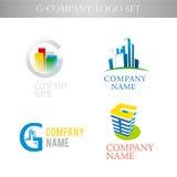 Vector stilvolle Logosammlung für die städtische Gebäudebürofirma, die auf weißem Hintergrund lokalisiert wird Lizenzfreie Stockfotografie