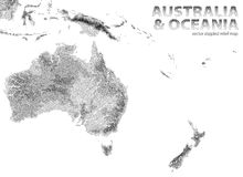 Vector stippled relief map of Australia and Oceania. Relief map of Australia and Oceania. Vector stippled illustration Stock Image