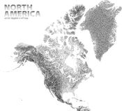 Vector stippled relief map of North America. Relief map of North America. Vector stippled illustration Royalty Free Stock Photography