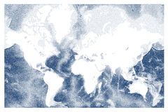 Vector stippled world ocean relief map Royalty Free Stock Images
