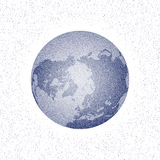 Vector stippled world stylized globe. North Pole. Stock Photos